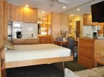 Spacious studio living & Murphy bed